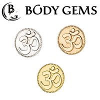 "Body Gems 14kt Gold ""Om"" Threadless End 18 Gauge 18g ""Press-fit"""