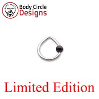 "Body Circle Surgical Stainless Steel 7/16"" Triangle Captive Bead Ring with Onyx Bead 14 Gauge 14g"