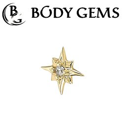 Body Gems 14kt Gold 8 Point Burst Threaded End Dermal Top 18 Gauge 16 Gauge 14 Gauge 12 Gauge 18g 16g 14g 12g