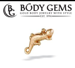 "Body Gems 14kt Gold ""Small Lizard"" Threaded End Dermal Top 18 Gauge 16 Gauge 14 Gauge 12 Gauge 18g 16g 14g 12g"