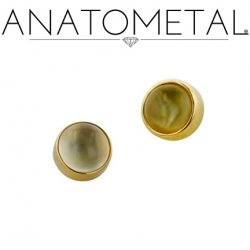 Anatometal 18kt Gold Threaded 4mm Bezel-set Cabochon Gem End 18g 16g 14g 12g