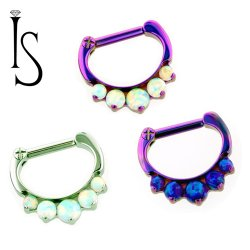 Industrial Strength Odyssey Titanium 5 Faux-pal Cabochon Gem Septum Clickers 16g 14g 12g