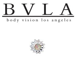 BVLA 14Kt Gold Sun Threaded Gem End Dermal Top 18g 16g 14g 12g Body Vision Los Angeles