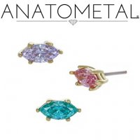 "Anatometal 18kt Gold Prong-set Marquise Gem Threadless End 18 Gauge 18g ""Press-fit"""