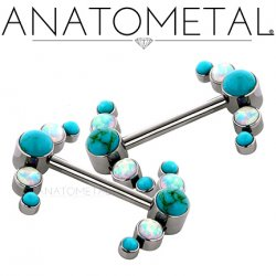 Anatometal Titanium Side-set 5 Gem Cluster Barbell 14 Gauge 14g