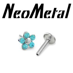 "18 Gauge 18g NeoMetal Titanium Threadless Flatback Labret Post with 5-Gem Flower End ""Press-fit"""