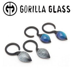Gorilla Glass Dichro Dew Drops Ear Weights 6g 4g 2g (Pair)