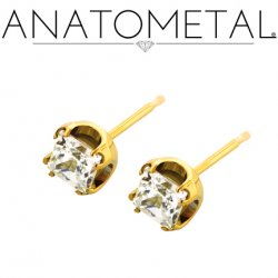 Anatometal 18Kt Gold 4mm Princess Earrings (Pair)