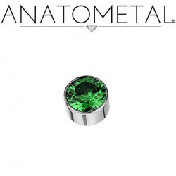Anatometal Anatometal Titanium Threaded 8mm Bezel-set Faceted Gem End 6 Gauge 4 Gauge 2 Gauge 6g 4g 2g