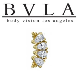 "BVLA 14kt Gold ""Pear Panaraya"" Threaded Gem End Dermal Top18g 16g 14g 12g Body Vision Los Angeles"