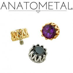 Anatometal 18kt Gold King Threaded End 4mm Gem 18g 16g 14g 12g