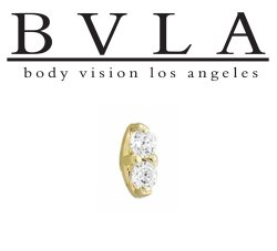 "BVLA 14kt Gold ""Marquise Illusion"" Threaded End 18g 16g 14g 12g Body Vision Los Angeles"