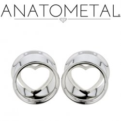 Anatometal Stainless Steel Eyelet Tunnel Pure Silver Heart Insert 00g to 7/8""