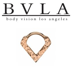 "Body Vision BVLA 14kt Gold Hammered ""Exotix"" V-Ring Nose Nostril Septum Ring 16 Gauge 16g"