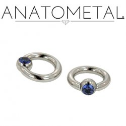Anatometal Titanium Captive Gem Ball Bead Ring 10 Gauge 8 Gauge 6 Gauge 10g 8g 6g