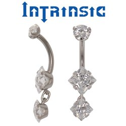 Intrinsic Body Titanium Navel Curve Prong-set Princess-cut Gems w/ 1 Dangle 14 Gauge 12 Gauge 14g 12g