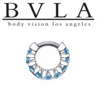 "BVLA 14kt Gold ""Baguette Cirrus"" Septum Clicker Ring 16 Gauge 16g Body Vision Los Angeles"