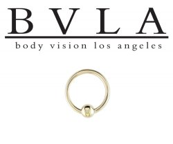 BVLA 18kt Gold Fixed Bead Ring 16 gauge 18 karat 16g Body Vision Los Angeles