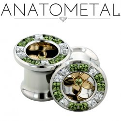 "Anatometal Stainless Steel Princess Cut Gem Bling Eyelet Tunnel Bronze Plumeria Flower Insert 00g, 7/16"", 1/2"", 9/16"", 5/8"", 3/4, 7/8"""