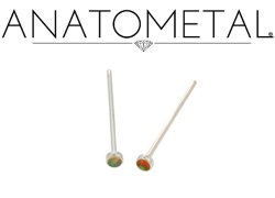 Anatometal Titanium 2mm Bezel-set Cabochon Gem Nostril Screw Nose Ring 20 Gauge 18 Gauge 20g 18g