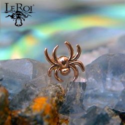 "LeRoi 14Kt Gold ""Spider"" Threadless End 18 Gauge 18g ""Press-fit"""