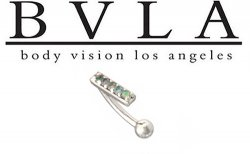 BVLA 14kt Gold Curved Barbell Channel-set Genuine Diamonds 18 Gauge 16 Gauge 18g 16g Body Vision Los Angeles