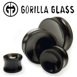 "Gorilla Glass Obsidian Concave Double Flare Plugs 1/2"" to 2"" (Pair)"