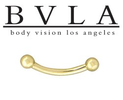 BVLA 14kt Gold Curved Barbell 10g Threaded Balls Ends Body Vision Los Angeles