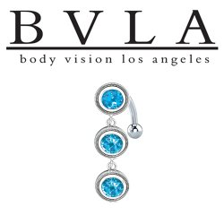 BVLA 14kt Gold Castilla Swiss Blue Topaz Navel Curved Barbell 14 Gauge 14g Body Vision Los Angeles