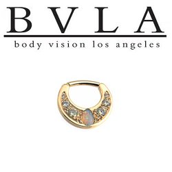 BVLA Boston Tiger 14kt Gold Septum Clicker White Opal Pear 14g Body Vision Los Angeles