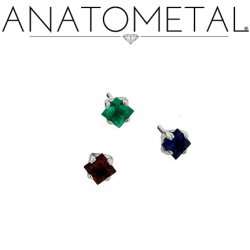 Anatometal Titanium Threadless 2mm Princess Cut Gem End 18 gauge 18g Threadless Posts Press-fit
