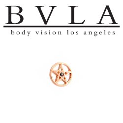 BVLA 14Kt Gold Round Pentagram Threaded End Dermal Top 18g 16g 14g 12g Body Vision Los Angeles