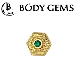 "Body Gems 14kt Gold Hex ""Relic"" Threaded End Dermal Top 18 Gauge 16 Gauge 14 Gauge 12 Gauge 18g 16g 14g 12g"