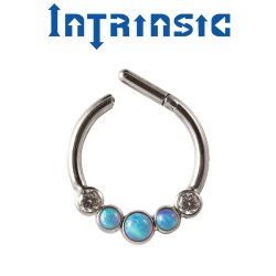 Intrinsic Body Titanium 5 Bezel-set Gem Septum Clicker Nose Ring Daith Ring 18 Gauge 16 Gauge 14 Gauge 18g 16g 14g