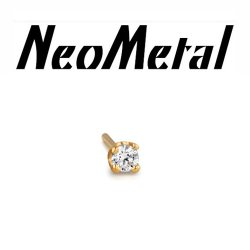 "18 Gauge 18g NeoMetal Threadless 1.5mm Prong-set Genuine Diamond End 14kt 14 Karat Gold ""Press-fit"""