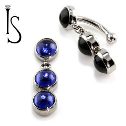 IS Titanium Fixed Top Bezel-set Crystal Cab Gem Curved Barbell w/ (2) 6mm Dangles 14 gauge 14g