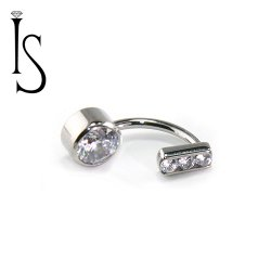 Industrial Strength Titanium Channel-set 3 Gem Curved Barbell 6mm Bezel Gem Bottom 16 Gauge 16g