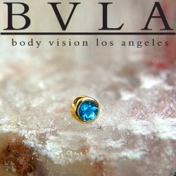 "BVLA 14kt Gold 2.5mm Bezel-set Gem Threadless End 18g 16g 14g ""Press-fit"""