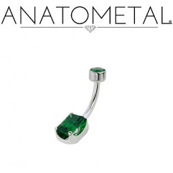 Anatometal Titanium Emerald-Cut Gem Navel Curve Bezel-set Top gem 14 Gauge 12 Gauge 14g 12g