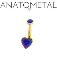 Anatometal 18kt Gold Opal Heart Gem Navel J-Curve Belly Button Ring 12 gauge 12g
