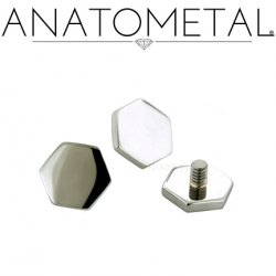Anatometal 18Kt Gold Threaded Hexagon End 4mm 18g 16g 14g 12g