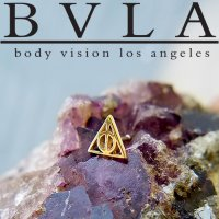"BVLA 14kt Gold ""Deathly Hallows"" Threadless End 18g 16g 14g ""Press-fit"""