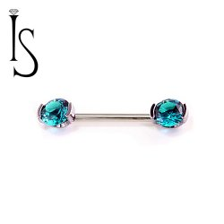 Industrial Strength Titanium Straight Barbell with Side-Set Threaded Forward Facing 2 Prong-set 6mm Round Faceted Gems 16g 14g 12g