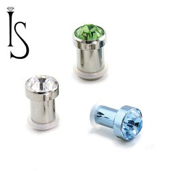 Industrial Strength Titanum Single Flared Faceted Crystal Gem Plugs 2g 0g 00g