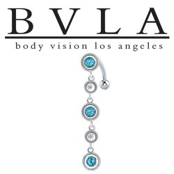 "BVLA 14kt Gold ""Navarra"" Swiss Blue Topaz & CZ Navel Curved Barbell 14 gauge 14g Body Vision Los Angeles"