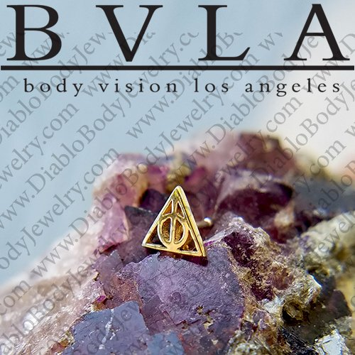 "BVLA 14kt Gold ""Deathly Hallows"" Threadless End 18g 16g 14g ""Press-fit"" - Click Image to Close"
