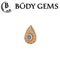 "Body Gems 14kt Gold Pear ""Relic"" Threaded End Dermal Top 18 Gauge 16 Gauge 14 Gauge 12 Gauge 18g 16g 14g 12g"