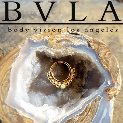 "BVLA 14kt Gold ""Graduating Latchmi w/ Gem"" Nose Nostril Septum Ring 16 Gauge 16g Body Vision Los Angeles"