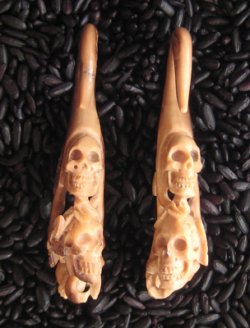 Antique Walrus Tusk Double Skull and Roses 6g 4mm One of a Kind