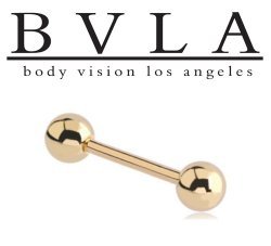 "BVLA 14kt Gold 1/4"" Balls Straight Barbell 8g 8 gauge Body Vision Los Angeles"